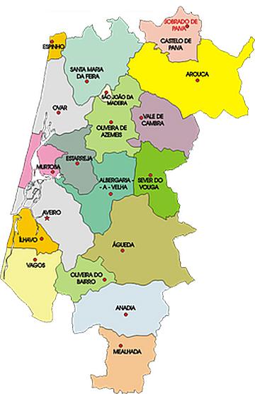 mapa dos concelhos do distrito de aveiro O PIDDAC 2011 do Governo PS para o distrito de Aveiro traduz se em  mapa dos concelhos do distrito de aveiro