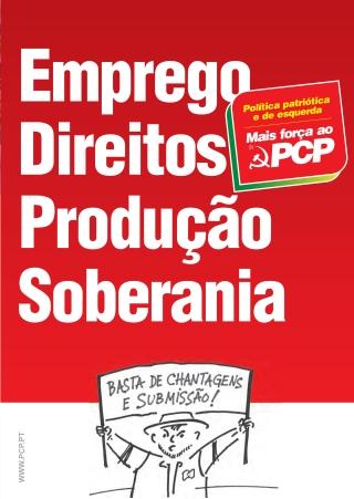Folheto «Emprego, Direitos, Produção, Soberania»
