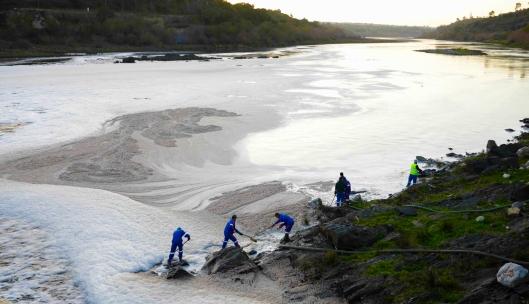 Remoção da espuma no Rio Tejo em Abrantes
